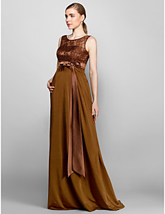 Floor-length Lace / Knit Bridesmaid Dress - Brown Plus Sizes / Petite Sheath/Column Scoop