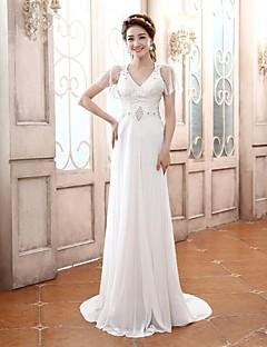 Robe - Blanc Bal de finissants A-line Col en V Traîne moyenne Mousseline polyester/Satin