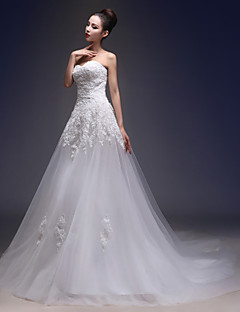 A-line Wedding Dress Vintage Inspired Chapel Train Sweetheart Lace Tulle with Appliques
