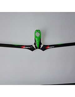 NEASTY Full Carbon Fiber Mountain Bike Stem Handlebar 3K Bright Green and White Painted Stem Handlebar