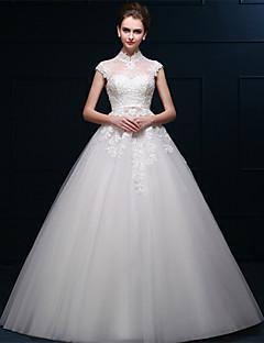 웨딩 드레스 - 화이트 A 라인 바닥 길이 하이넥 튤