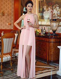 Fiesta formal Vestido - Rosa Caramelo Corte Recto Hasta el Suelo - Escote Barco Gasa