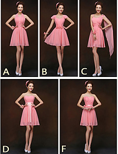 Short / Mini Bridesmaid Dress - Lace-up Sheath / Column Halter / Sweetheart / Straps with Sash / Ribbon