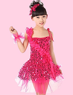 Latin Dance Performance Dresses Children's Polyester/Tulle Sequins Flowers Dress(More Colors) Kids Dance Costumes