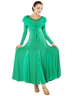Dança de Salão Ginástica / Vestidos Mulheres Actuação / Treino Fibra de Leite 1 Peça Manga Comprida VestidosM: 125cm L: 130cm XL: 130cm