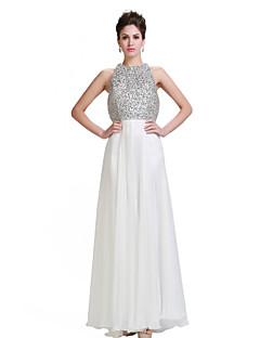 Formal Evening Dress - Ivory Plus Sizes / Petite A-line Jewel Floor-length Chiffon / Stretch Satin