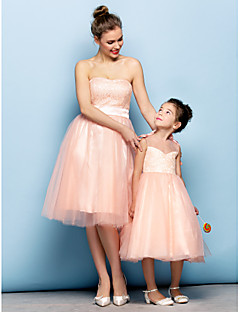 Cocktail Party Dress - Pearl Pink Plus Sizes / Petite Ball Gown Strapless Knee-length Lace / Tulle
