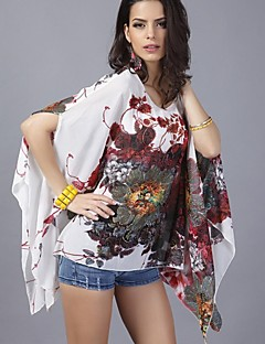 Mulheres Blusa Decote Redondo Meia Manga Chifon Mulheres