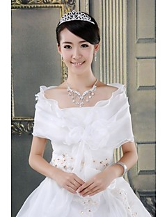 Wedding  Wraps Capelets Sleeveless Organza White/Red