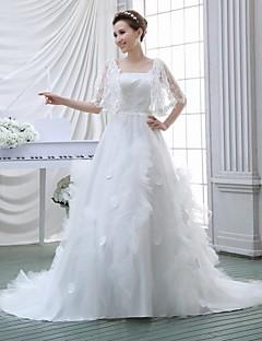 A-line Wedding Dress - White Court Train Square Crepe/Lace