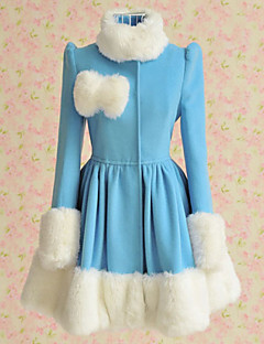 Long Sleeve Blue Woolen White Fur Trim Sweet Lolita Coat
