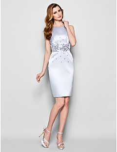 Lanting Sheath/Column Plus Sizes / Petite Mother of the Bride Dress - Silver Knee-length Sleeveless Satin