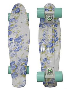 planche à roulettes en plastique 22 pouces mini-cruiser floral bleu avec des roulements ABEC-9