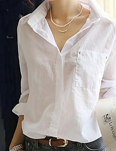 Sommar Enfärgad Kortärmad Formella Skjorta,Enkel Kvinnors Tröjkrage Bomull Medium Blå / Vit
