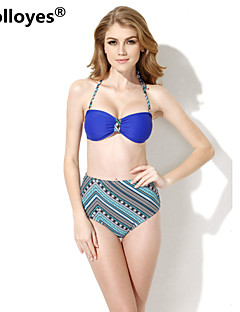 Colloyes Women Royal Blue+ Ethnic Bandeau Top High Waist Bottom Bikinis Swimwear