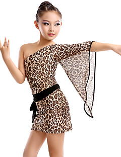 High-quality Milk Fiber with Leopard Print Latin Dance Dresses for Children's Performance/Training Kids Dance Costumes