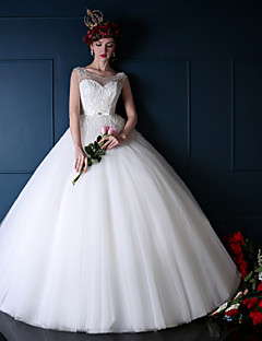 Ball Gown Wedding Dress - White Floor-length Jewel Organza/Tulle/Charmeuse
