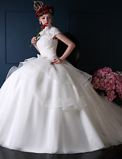 Ball Gown Wedding Dress - White Court Train High Neck Lace/Organza/Tulle/Charmeuse