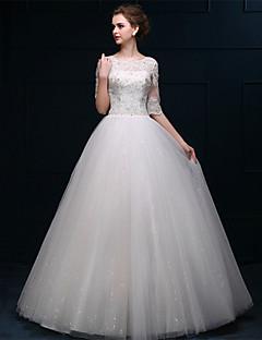 웨딩 드레스 - 화이트 A 라인 바닥 길이 바토 튤