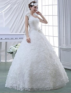 Ball Gown Wedding Dress-Floor-length One Shoulder Lace / Velvet Chiffon