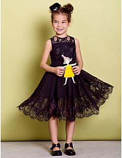Dress - Black A-line Jewel Knee-length Chiffon/Lace