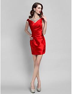 Cocktail Party Dress - Plus Size / Petite Sheath/Column Jewel Short/Mini Stretch Satin