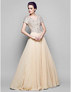 A-line Mother of the Bride Dress - Champagne Floor-length Short Sleeve Chiffon/Tulle/Sequined