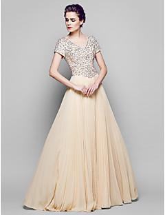 신부 어머니 드레스 - 샴페인 A라인 짧은 소매 바닥 길이 쉬폰/명주그물/반짝이
