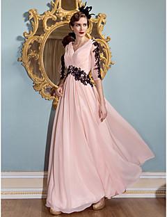 동창회 공식적인 저녁 드레스 - 핑크 칼집을 얼굴이 빨 / 칼럼 V 넥 바닥 길이 쉬폰