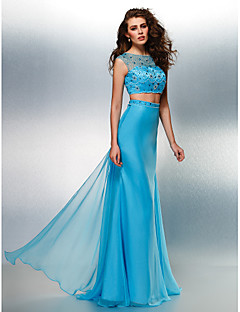 Homecoming Formal Evening Dress - Pool A-line Jewel Sweep/Brush Train Chiffon