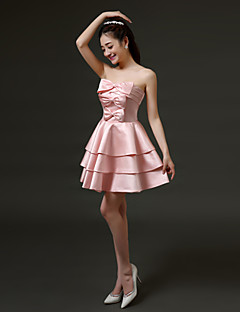 Short/Mini Satin Bridesmaid Dress - Ruby/Pearl Pink A-line Strapless
