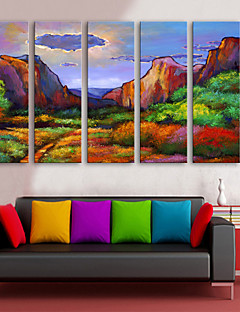 E-HOME® Stretched Canvas Art Color Stone Mountain Decorative Painting  Set of 5