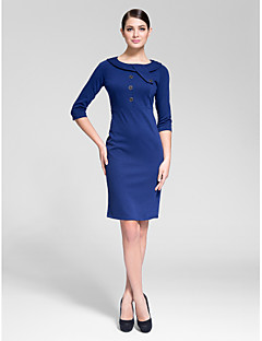 Cocktail Party Dress - Royal Blue Sheath/Column Jewel Knee-length Polyester