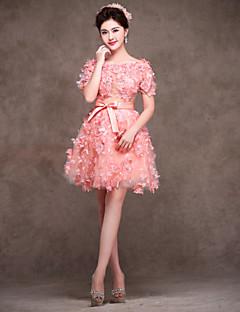칵테일 파티 드레스 - 블러슁 핑크 A라인 무릎길이 보석 레이스/사틴/명주그물/엘라스틱 우븐 사틴