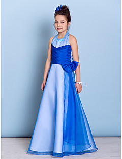Floor-length Organza / Taffeta Junior Bridesmaid Dress - Royal Blue A-line Halter