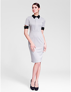Cocktail Party Dress Sheath/Column High Neck Knee-length Polyester
