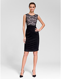 Homecoming Cocktail Party Dress - Black Sheath/Column Jewel Knee-length Polyester