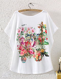 여성의 프린트 라운드 넥 짧은 소매 티셔츠,심플 캐쥬얼/데일리 멀티 색상 면 / 폴리에스테르 여름 중간