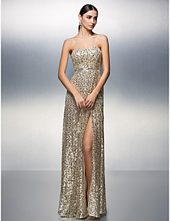 Prom / Formal Evening Dress - Furcal / Sparkle & Shine Sheath / Column Strapless Floor-length Sequined withSash / Ribbon / Split Front /