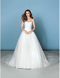 lan ting abito abito da ballo di nozze - cattedrale dell'avorio treno senza spalline in tulle