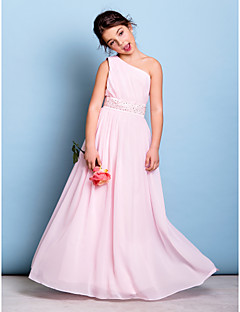 Floor-length Chiffon Junior Bridesmaid Dress A-line One Shoulder with Beading / Sash / Ribbon / Side Draping
