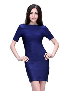 Column Jewel Short/Mini Spandex/Nylon Taffeta/Rayon Bandage Dress