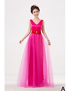 Floor-length Bridesmaid Dress A-line High Neck / One Shoulder / Strapless / V-neck with