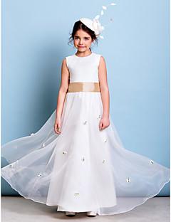 Vloer Lengte Organza Junior bruidsmeisjesjurk - Ivoor A-Lijn Juweel