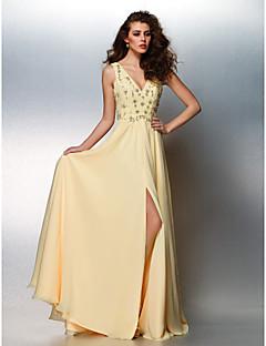 Fiesta de baile/Fiesta formal Vestido - Narciso Corte A Hasta el Suelo - Escote en V Gasa