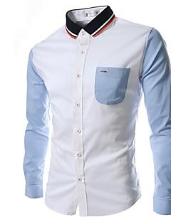 FeangShang Men's Casual Long Sleeve Casual Shirts (Cotton)