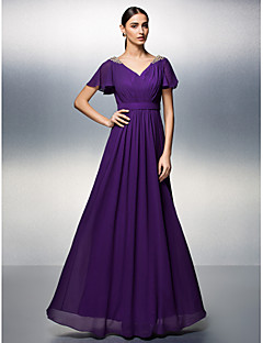 TS Couture® Formal Evening Dress Plus Size / Petite Sheath / Column V-neck Floor-length Chiffon with Beading / Criss Cross