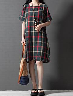 Robe Aux femmes Grandes Tailles Grandes Tailles / Décontracté / Mignon , Damier Col Arrondi Mi-long Coton / Lin