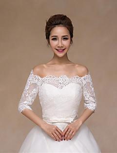 반 소매 - 레이스/사틴 - 결혼식 랩 ( 화이트