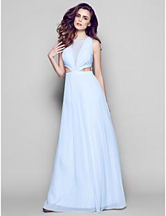 ts couture® formel aften kjole plus size / kort kappe / kolonne juvel gulvlange chiffon med drapering / blonder